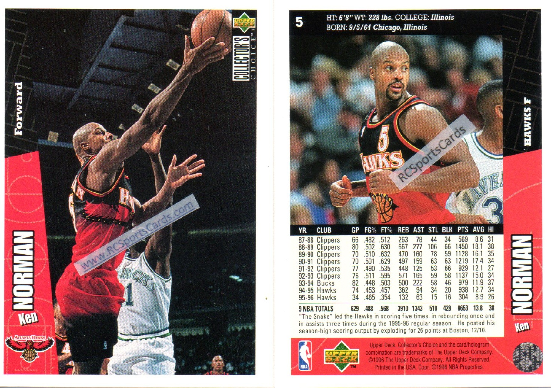 Find 1995 1996 Atlanta Hawks Basketball Trading Cards