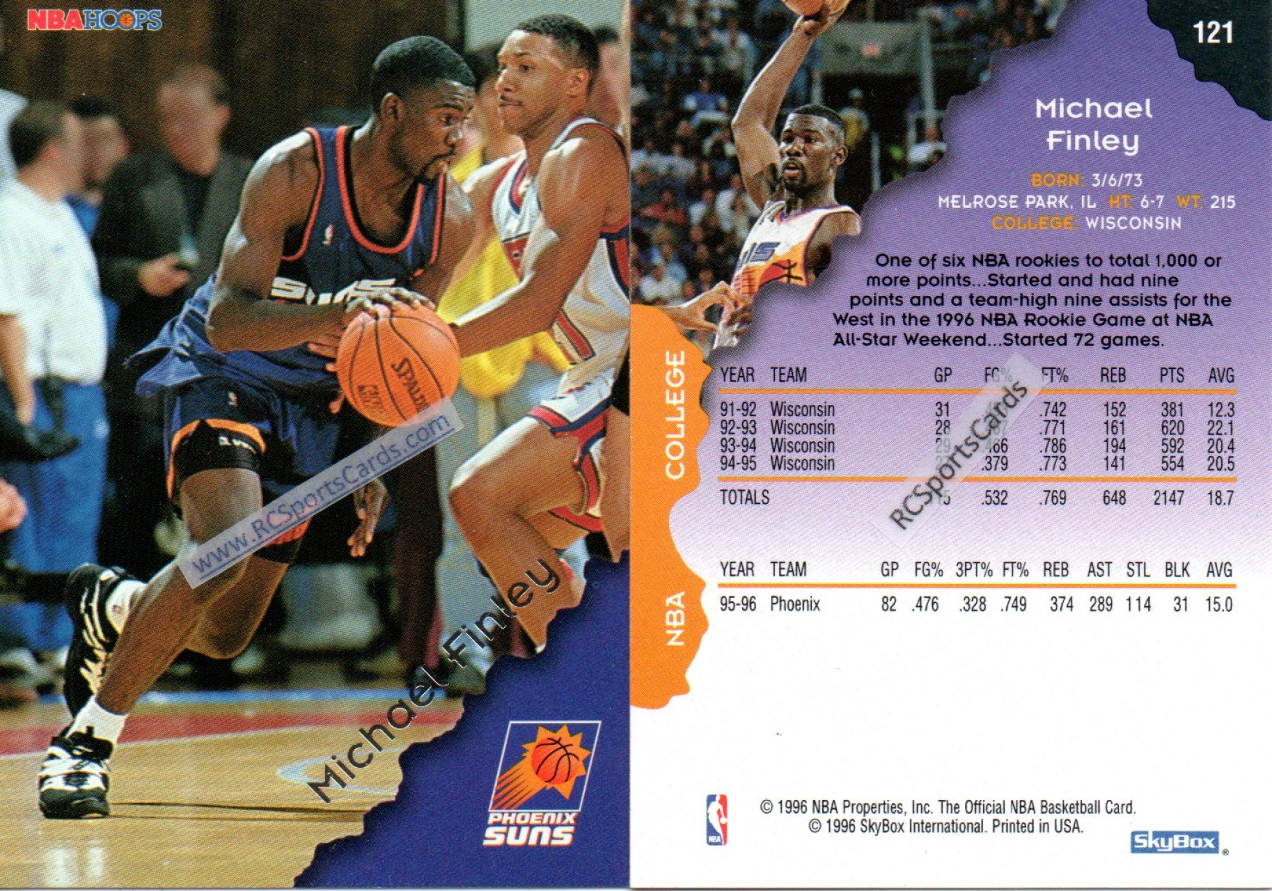 1995 1996 Phoenix Suns Basketball Trading Cards Basketball Cards